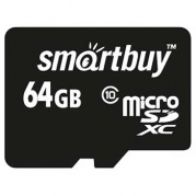MICRO SDXC (Trans Flash) 64Gb Smart Buy (class 10)+адаптер * Карта памяти