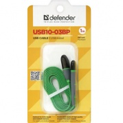 Кабель USB2.0-AM/microUSB/насадка Lightning 1м Defender USB10-03BP, зеленый