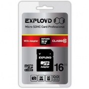 MICRO SDHC (Trans Flash) 16Gb Exployd Class (class 10)+адаптер * Карта памяти