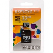 MICRO SDHC (Trans Flash) 32Gb Exployd Class (class 10)+адаптер * Карта памяти